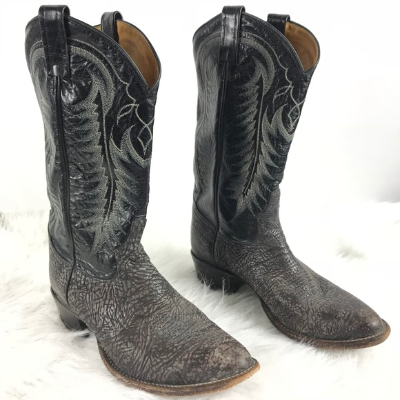 16ae3994d24 Tony Lama Black Sueded Leather Western Boots 9.5D